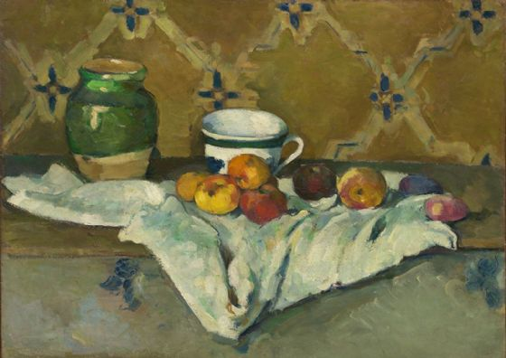 Cezanne, Paul: Still Life with Jar, Cup and Apples. Fine Art Print/Poster. Sizes: A4/A3/A2/A1 (004215)